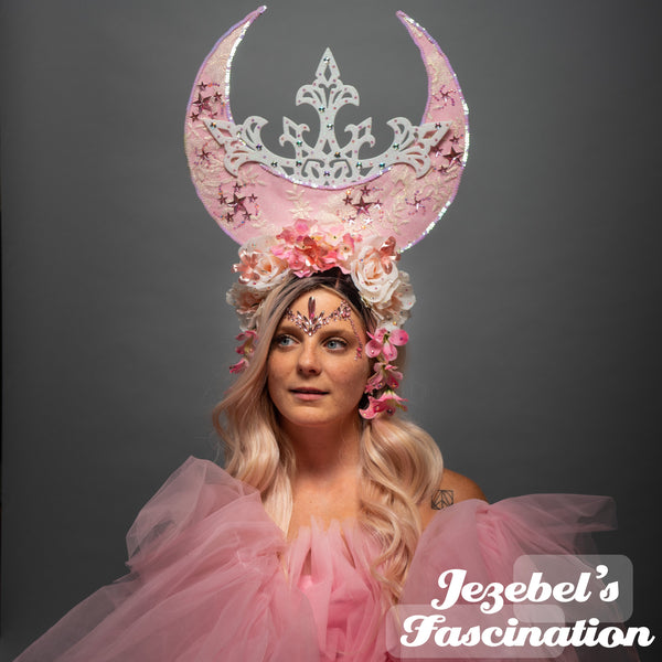Pink Moon Lace Star Flower Crown Goddess Majestic Tarot Polaris Witch Wicca Mystical Headdress Costume Cosmic Galaxy Empress Pagan Fairy Faerie Headpiece Pastel Rose Art Nouveau Oracle Ethereal Astrology Occult Priestess Romantic Theater Fantasy Magical