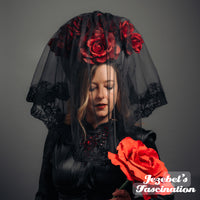 Rococo Rose Vampire Bride Veil Victorian Kokoshnik WGT Black Grey Gothic Romantic Bridal Crown Blood Red Mistress Queen Wedding Headdress Costume Masquerade Mantilla Spanish Countess Boofer Gothique Romantique Mourning Underground Underworld Cryptic