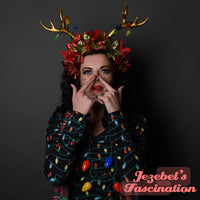 Christmas Deer Antlers Light Up Golden Poinsettia Flower Crown Winter Reindeer Rudolph Tacky Ugly Sweater Party Red Green Glitter Holiday Hand Made Head Wear Unique Party Lights