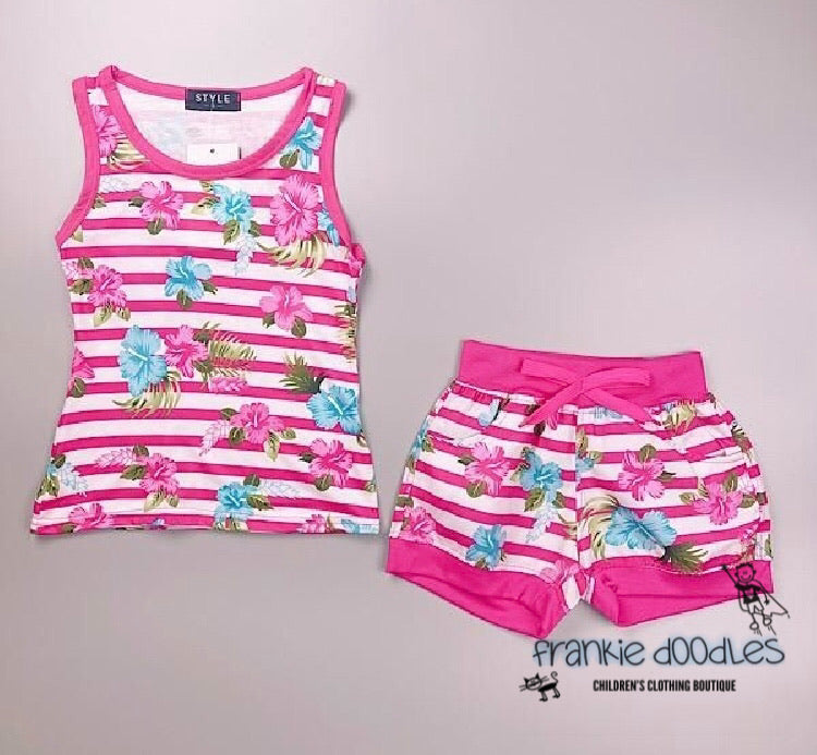 Cerise Pink Tank Top & Short Set