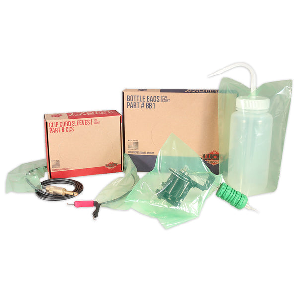 Lucky Supply Bottle Bags, Clipcord Sleeves, and Machine Bags.