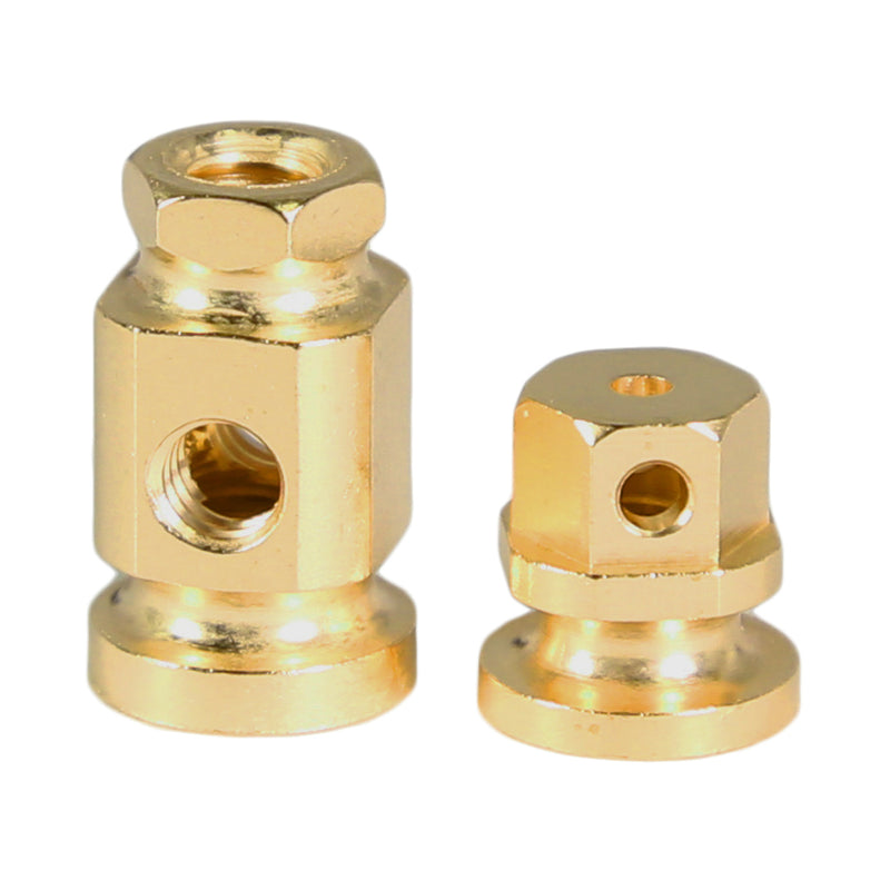 Brass Square Sided Hex Topped Binding Post Front & Rear