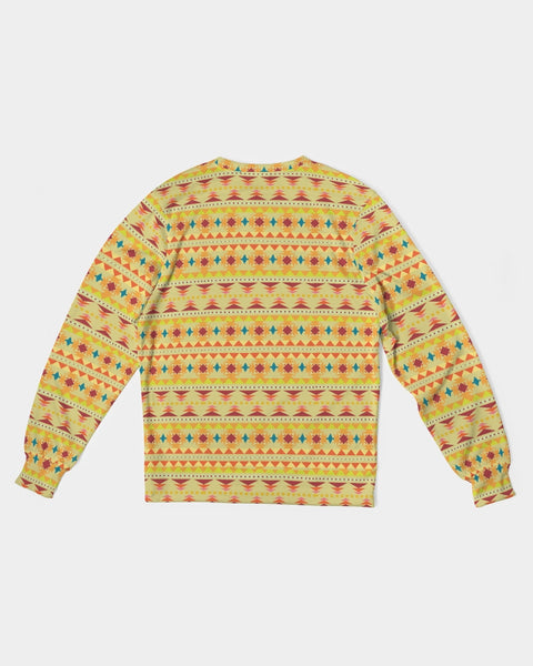 Figaro Aztec Pattern A Men's Classic French Terry Crewneck Pullover