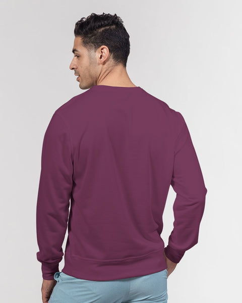 FIGARO Magneta Purple Men's Classic French Terry Crewneck Pullover