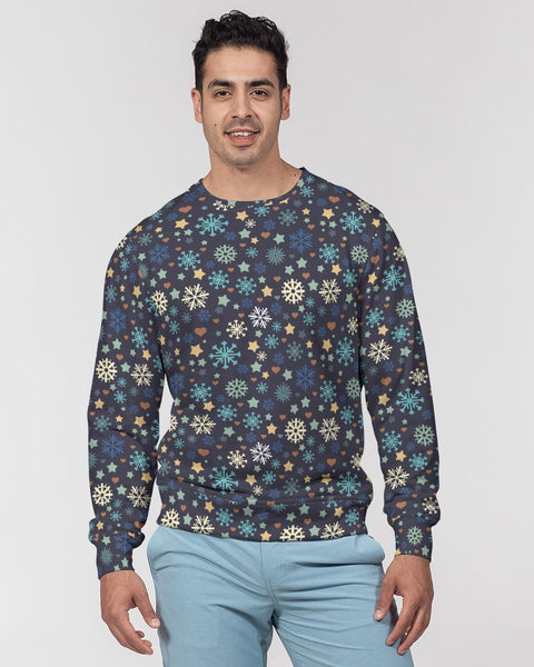 FIGARO Midnight Holiday Print Men's Classic French Terry Crewneck Pullover
