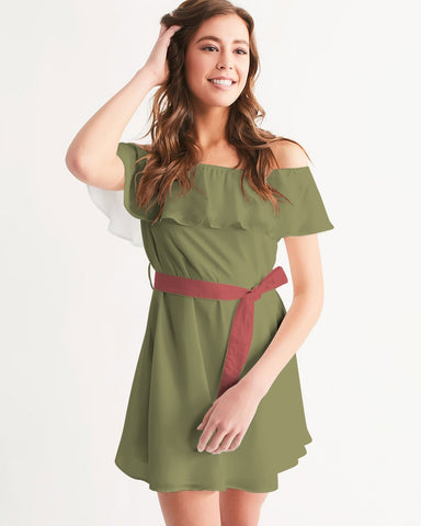 Cranberry Figaro Women's Off-Shoulder Dress