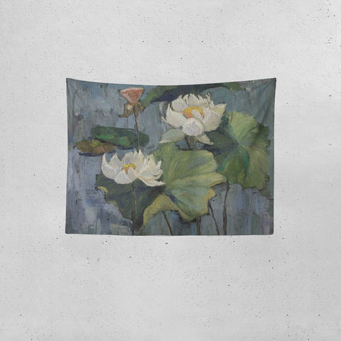 "Oil painting white lotus Tapestry 80""x60"""