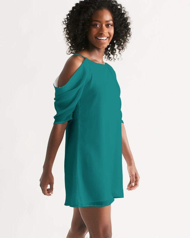 Figaro Forest Green Women's Open Shoulder A-Line Dress