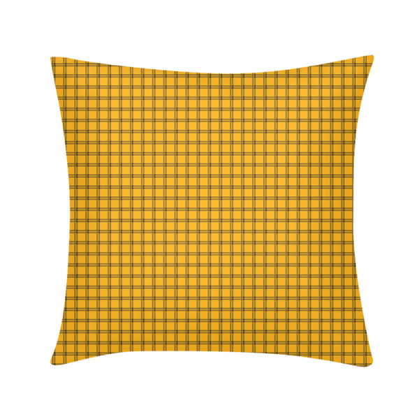 "Yellow Plaid Throw Pillow Case 18""x18"""
