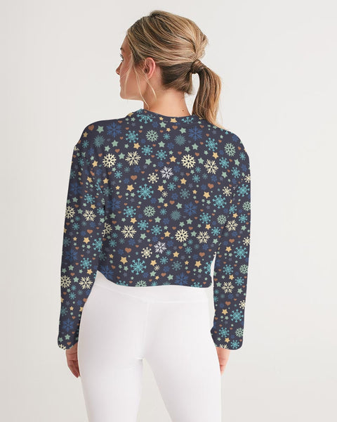 FIGARO Midnight Holiday Print Women's Cropped Sweatshirt
