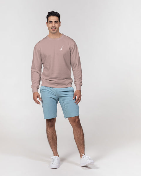 Figaro Rose Tan Men's Classic French Terry Crewneck Pullover