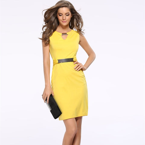 FIGARO Hollow Out Sleeveless Pencil Dress