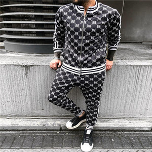FIGARO Plaid Men Casual Zipper Set Autumn Tracksuit