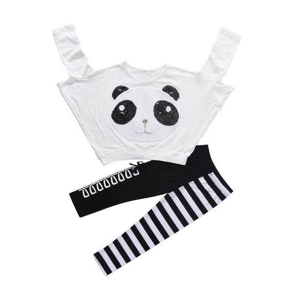 FIGARO Girls Panda Sequins Tops & Pants Set