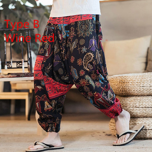 FIGARO Baggy Cotton Linen Harem Pants