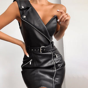 SOLFEGE Faux Leather One Shoulder Dress Women
