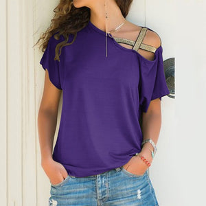 FIGARO Irregular Short Sleeve One Shoulder Tee