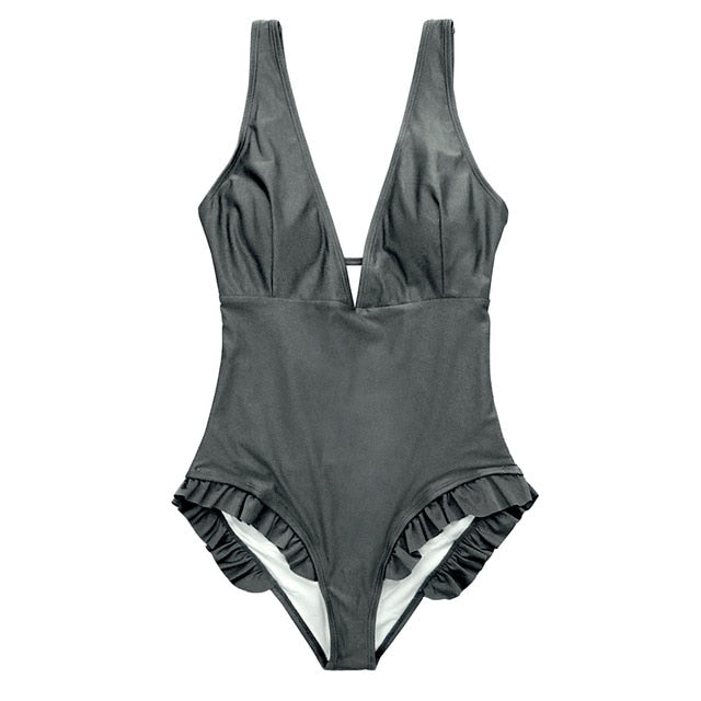 FIGARO Grey Backless Swimsuit