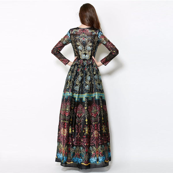 FIGARO Vintage  Long Sleeve Floor-Length Dress Women