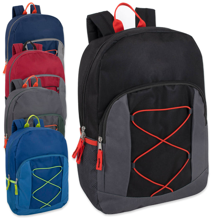 Wholesale 43cm Bungee Backpack, 20L Capacity With Side Pocket - Boys Assortment