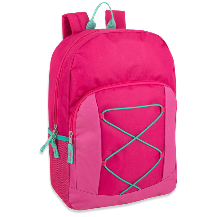 Wholesale 43cm Bungee Backpack, 20L Capacity With Side Pocket - Girls Assortment