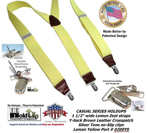 Holdup Brand Lemon Zest Yellow Y-back Casual Suspenders with silver Patented No-slip Silver-tone Clips