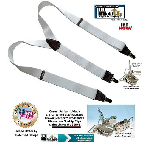Holdup Brand White lightning Casual Series Y-back Suspenders with Patented No-slip Silver-tone clips