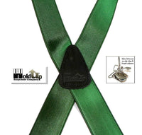 "Hold-Ups Forest Green 1 1/2"" Wide Satin Finish, X-back with Patented No-slip Silver Clips"