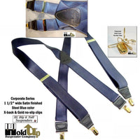 "Dressy Holdup X-back suspenders in Extra Long XL Steel Blue 1 1/2"" Wide Satin Finish straps with Patented No-slip Gold Clips"
