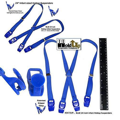 "Hold-Ups 24"" Infant Brand Blue Suspenders with Matching Patented Gripper Clasps"