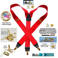 Holdup Regal Red Corporate Series Satin Finish Suspenders in Y-back style with Patented No-slip Gold Clips