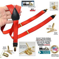 "Hold-Ups Cherry Red 1"" wide Satin Finish Suspenders Y-back Patented No-slip Gold Clips"