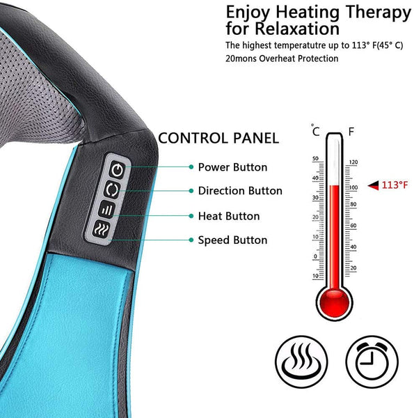 Electric Heat Massager For Neck Back Shoulders Legs And Feet