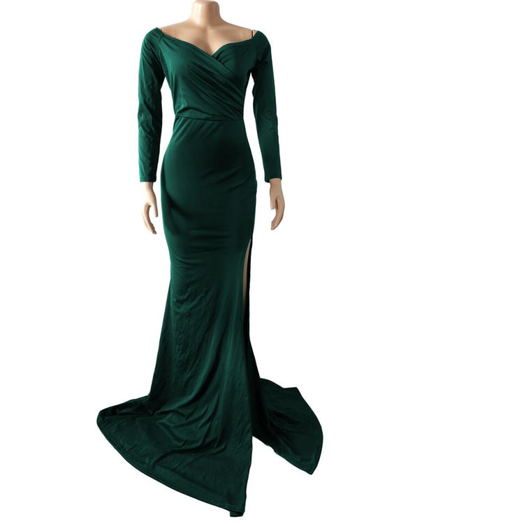 Long Sleeve Split Evening Gown