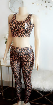 Leopard Spotted Mermaid 2 piece sports bra & pant set