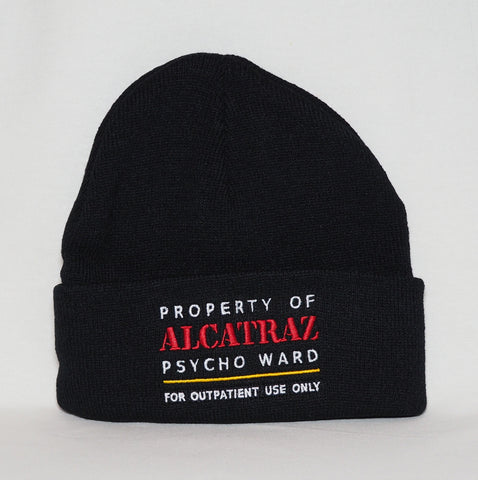 Black Alcatraz Beanie, Property of Alcatraz Psyco Ward,