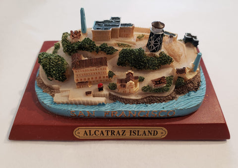 3 inch poly resin model of Alcatraz Island on a simulated wood square base.