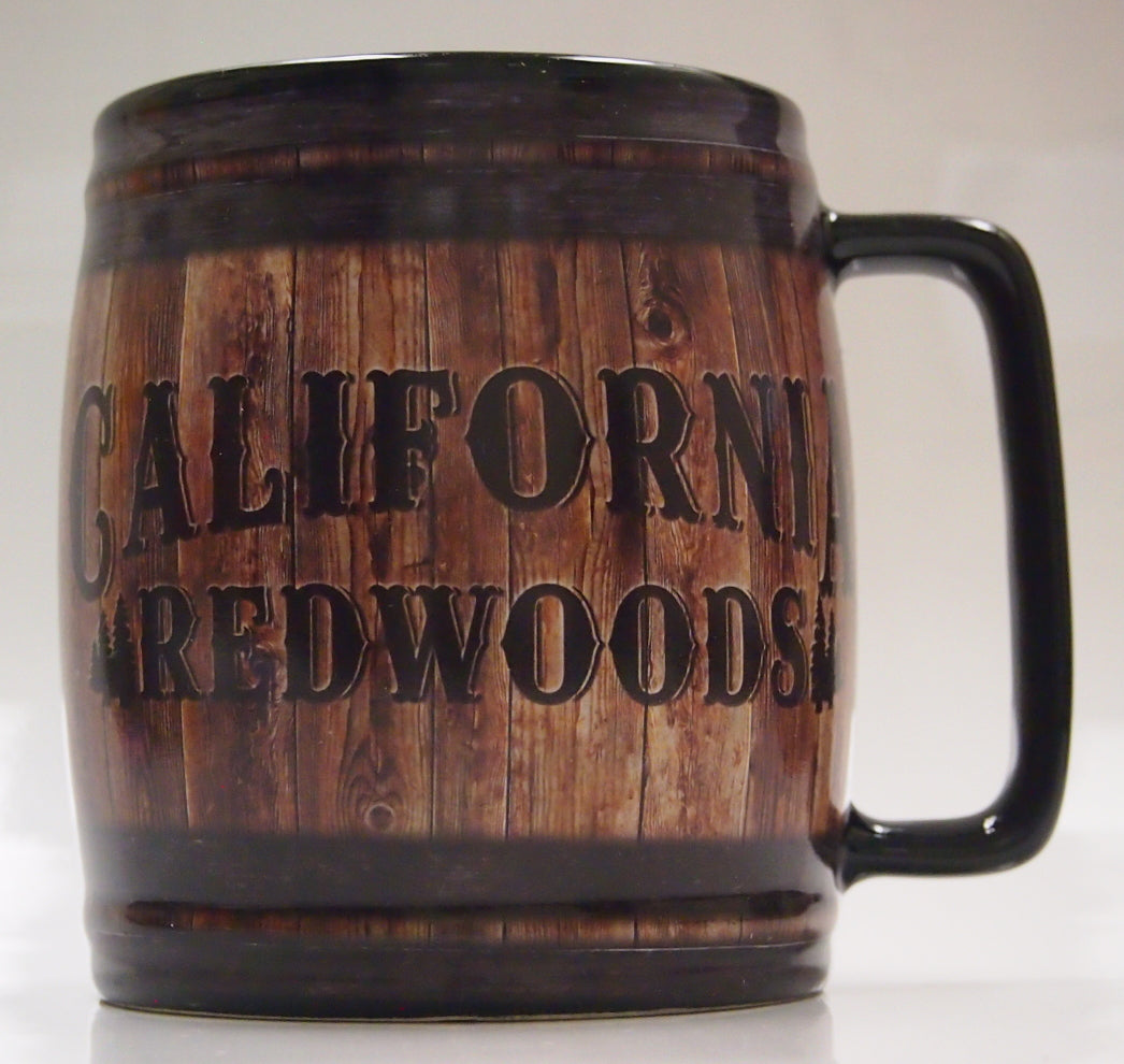 Barrel Shaped Mug. California Redwood.