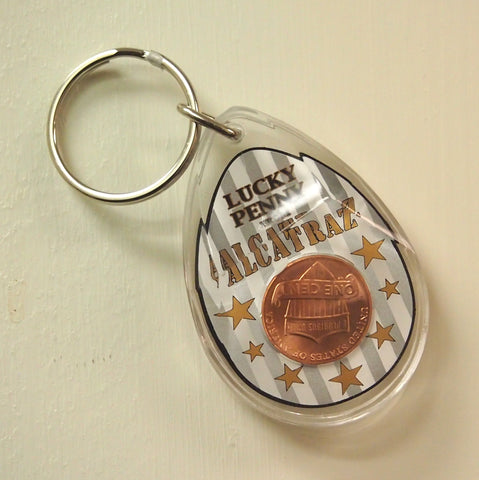 Tear Drop Shaped Plastic Keychain with Lucky Penny