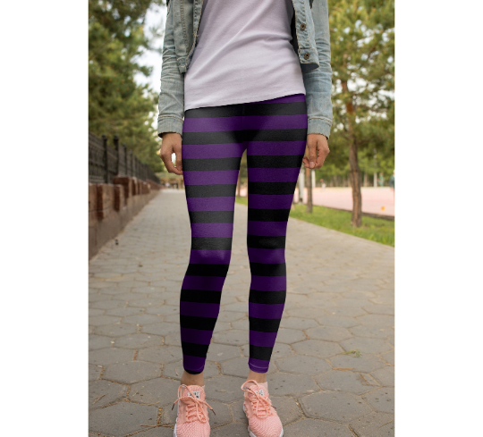 Purple Black Striped leggings, Capris and Shorts
