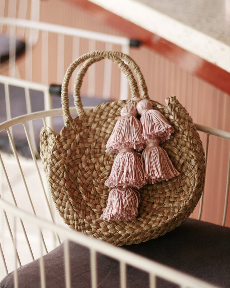 Petite Luna Bag - Round Straw Tote Bag with Blush