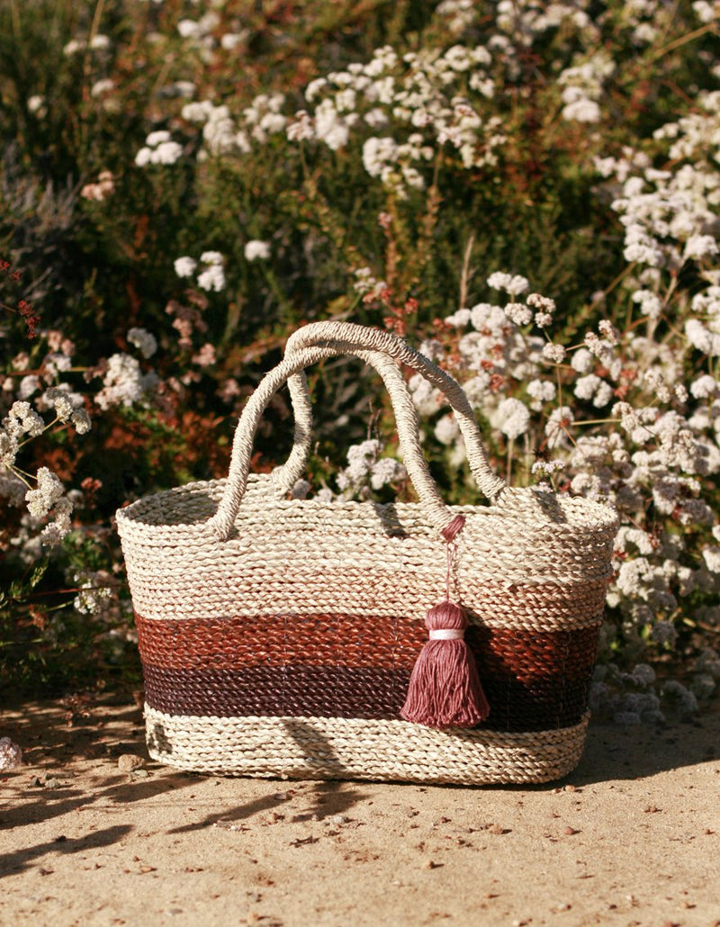 Shabba Pandan Straw Tote Bag, in Earthy Brown &