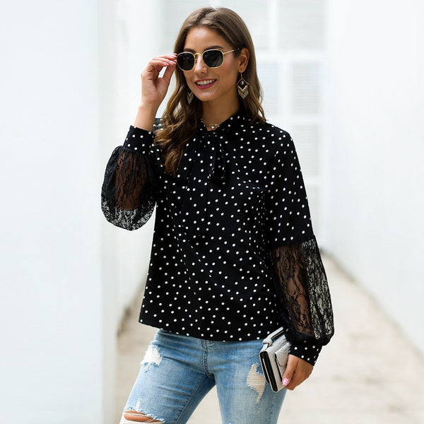 Patchwork Lace Long Sleeve Dot Blouse