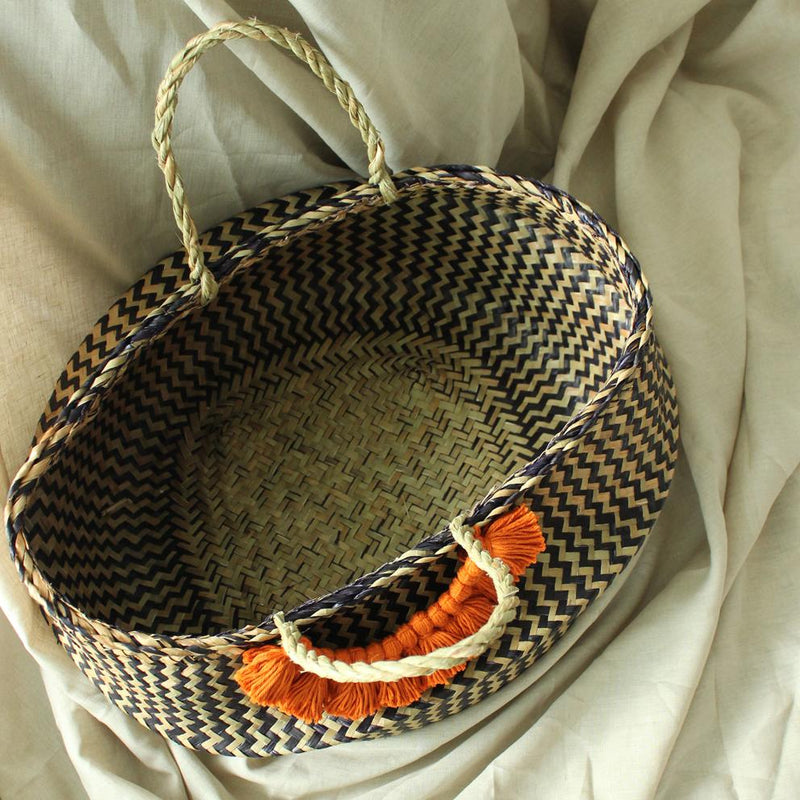 Borneo Extra Wide Zig-zag Belly basket - with