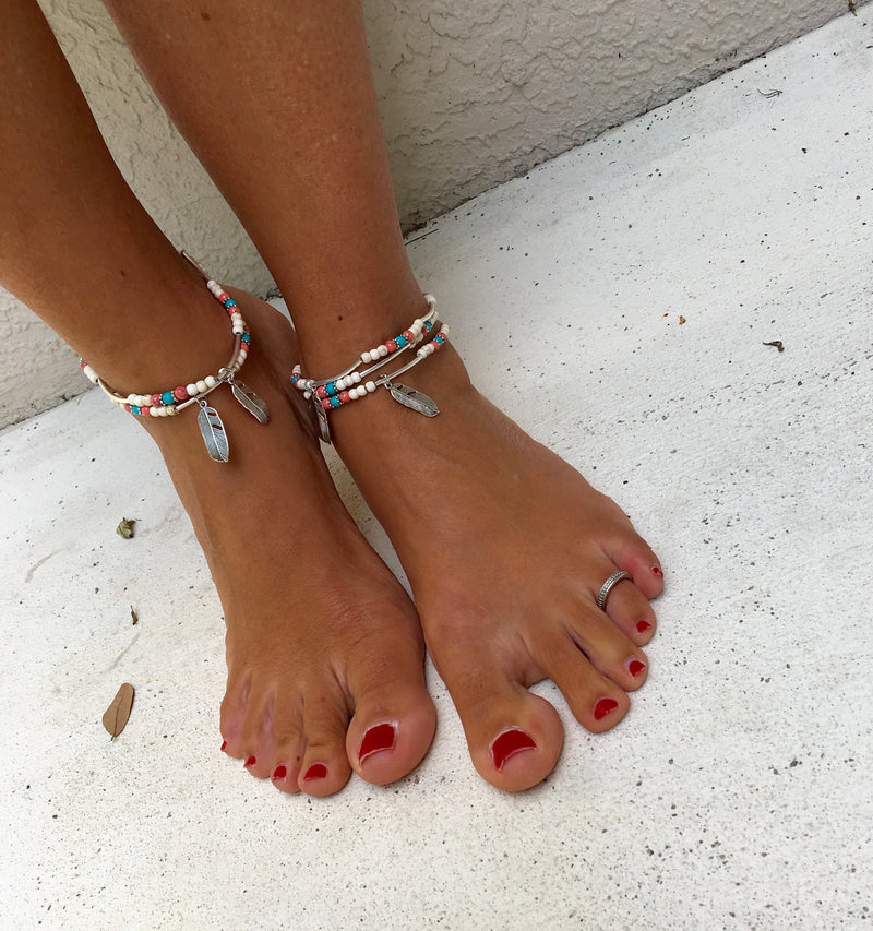 Feather Boho Anklet