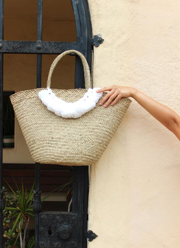 Brunna Muma Roman Tassel Straw Bag, in White -