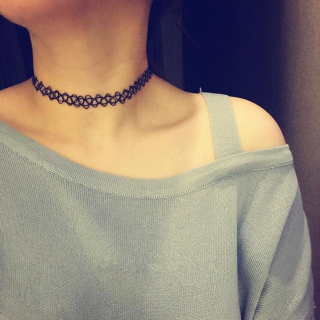 Exquisite Tattoo Choker Stretch Necklace Black