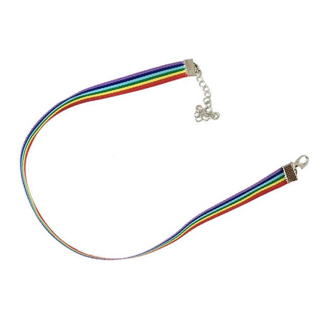 HOT Rainbow Choker Necklace Gay Pride LGBT