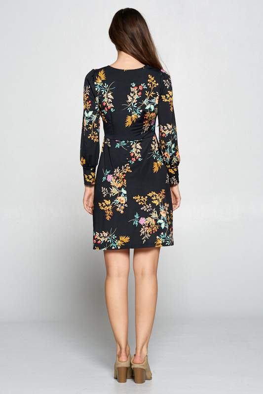 LONG SLEEVE V-NECK FLORAL DRESS