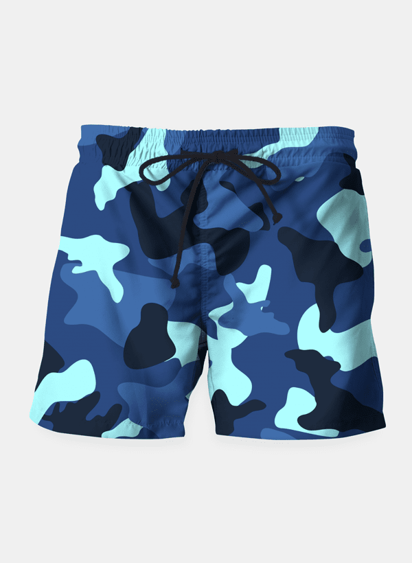 Blue marine army camo camouflage pattern Shorts